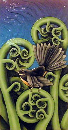 fantail on fern fronds New Zealand New Zealand Image, New Zealand Art, Nz Art, Art For Art Sake, Art Maori, Art Pictures, Art Images, Maori Symbols, Zealand Tattoo