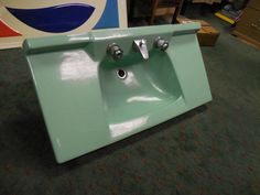 "Vintage Porcelain Bathroom Sink Sea Foam or Mint Green 36x18"""