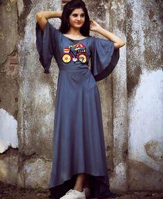 Cotton Satin kurti with superb embroidery. Kurta Designs Women, Blouse Designs, Embroidery Dress, Hand Embroidery, Embroidery Designs, Abstract Embroidery, Beaded Embroidery, Fancy Kurti, Kurti Patterns