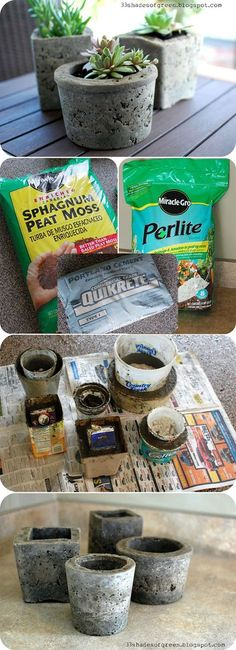 DIY PLANTERS :: Making Hypertufa Pots Tutorial :: Hypertufa is a stonelike material that mimics a type of rock. Make flower pots (or balls/pillars) in any shape & size w/ just THREE INGREDIENTS!!! She shows you her method & here is Matha Stewart's method (w/ patterns on the outside & different shapes): www.marthastewart... & one more method w/ GOOD TIPS: www.itsnotworkits...: