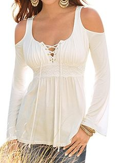Oyanus Women's Sexy Casual Long Sleeve Off Shoulder Lace Up T-Shirt Blouse Tops White M. Material: Rayon. Imported, designed by USA. Machine Washable (Recommended Hand Wash). Thanth Women's Sexy Casual Long Sleeve Off Shoulder Lace Up T-Shirt Blouse Tops. High quality soft fabric, comfy to dress up. Features: Lace Up, Plunge Neck, Long Sleeve, Solid Color, Sexy, Rayon, Casual Blouse, Women Tops. PLEASE CHOOSE YOUR SIZE BASED ON BUST MEASUREMENT BELOW. BUST: (S): 33.07 inches …