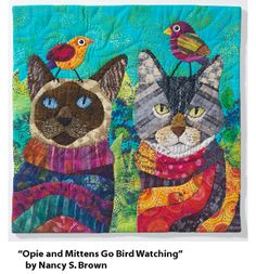 """Opie and Mittens Go Bird-Watching"" by Nancy S. Brown, from the Quilting Arts 2012 Calendar"