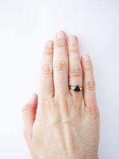 Geometric tiny black ring. Triangle ring. Minimalistic by Nuann, $13.50