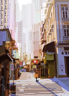 Random studies trying to learn new things Environment Painting, Environment Concept, City Illustration, Digital Illustration, Simple Illustration, Fantasy Illustration, City Drawing, Scenery Background, Visual Development