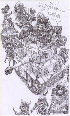 03712-20200803-탱크,호랑이,군인_basse def Abstract Pencil Drawings, Animal Drawings, Detailed Drawings, Cool Drawings, Junggi Kim, Character Art, Character Design, Jordi Bernet, Cat Icon