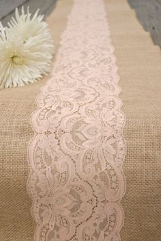"Vintage Antique Peach, Blush, Taupe, Pastel Coral Wedding Lace Burlap Runner 12""x108"".  Country, Shabby Chic, Vintage, or  Rustic Wedding. $16.00, via Etsy."