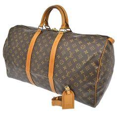 45e3281faea0 Louis Vuitton Monogram Keepall 55 Travel Bag Leather Luggage Tag Lock