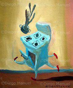 """""""cocina bailantera"""", acrilico on canvas, 22 x 18 cm. , 2001 . By Diego Manuel"""