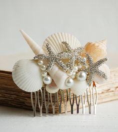 Bridal HAIR COMB Sea Shell Hair Accessory