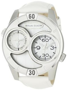 Marc Ecko Men's E16584G3 The Maestro White Leather Strap Watch Marc Ecko. $115.00. Quartz movement. Water-resistant to 165 feet (50 M). Silver dial. Stainless steel case. White leather strap. Save 30% Off!
