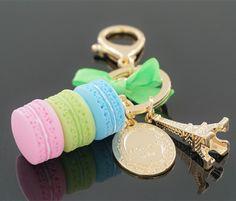 Fashion Women Bag Key chain ring nice purse KeyChain France Macaron Cake key Holder charm handbag car Pendant Accessories gift
