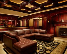Marvellous Irish Pub Decorating Ideas With Vintage And Classic Touch: Traditional Media Room Century Irish Pub Bar And Theater With Black Dark Ceiling Chery Colored Bar Tc Room Vintage Leather Sofa ~ miaohuifac.com Basement Design Inspiration