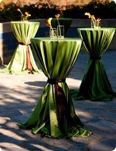 Wedding green cocktail tables