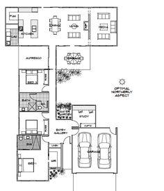 Triton | Green Homes Australia: remove alfresco and terrace, turn media into alfresco/terrace, make study bigger, make bed 2 & 3 bigger, move laundry next to bathroom.