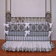 Simply Silver Crib Bedding from PoshTots #crib #bedding #baby #elegant #gorgeous #pregnant