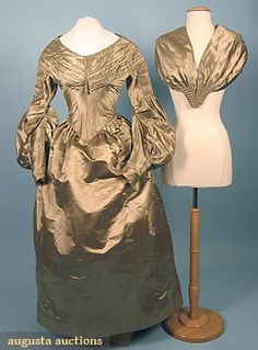 COLORED SILK WEDDING DRESS, c. 1838 Golden olive satin 3-piece, c/o skirt, bodice & pellerine