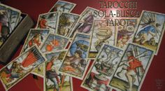 A spread of the SOLA-BUSCA TAROT 78 cards: limited edition of 700 copies numbered and handsigned by Wolfgang Mayer (Germany 1998).