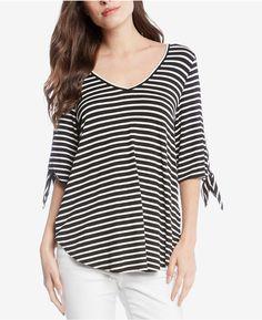 68314d10600f01 Karen Kane Striped Tie-Sleeve Top   Reviews - Tops - Women - Macy s