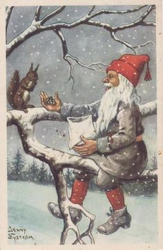 Jaanas Gut o Mixed - Swedish Christmas, Christmas Gnome, Christmas Themes, Vintage Christmas, Christmas Crafts, Santa Lucia Day, Vintage Happy New Year, Christmas Graphics, Fairytale Art
