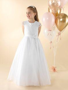 LWCD44 Communion Dress Holy Communion Dresses, First Holy Communion, Pleated Bodice, Little White, Holi, Cap Sleeves, Tulle, Flower Girl Dresses, Wedding Dresses