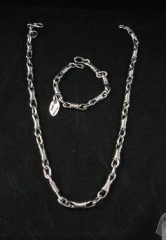 Native American handmade sterling silver link necklace & braceletby award winning Navajo artist, Orville Tsinnie