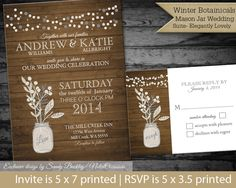 DIY Winter Wedding printable Rustic Mason Jar by NotedOccasions, $35.00