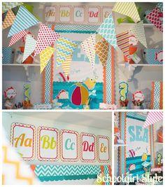 Ocean beach chevron polka dot classroom decorations by Schoolgirl Style Classroom Decor Themes, Classroom Setting, Classroom Design, Classroom Organization, Classroom Ideas, Polka Dot Classroom, Preschool Classroom, Future Classroom, Kindergarten