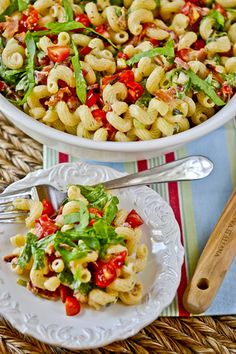 BLT Pasta Salad --- ◦1/2 Cup light mayonnaise  ◦1 to 1 1/2 Cups grape tomatoes, small diced, juices included  ◦4-5 green onions, white and light green parts, thin sliced  ◦2 teaspoons fresh thyme, minced (you can use dried if you prefer)  ◦salt and pepper to taste  ◦6-8 slices cooked bacon  ◦2 Cups chopped or thin-sliced spinach  ◦12 ounces corkscrew pasta, or your favorite shape, cooked al dente