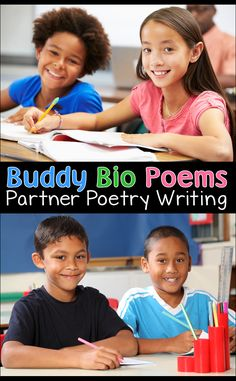 Buddy Bio Poems is a terrific activity that's an easy poetry writing lesson AND a fun icebreaker! Each student interviews a partner to gather facts and information about his or her classmate. Then they compose short bio poems to share what they learned. Teaching Poetry, Writing Poetry, Teaching Reading, Writing Notebook, Poetry Books, Guided Reading, Poetry Lessons, Writing Lessons, Writing Ideas