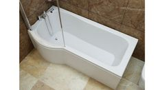 Galaxia P Shape Shower Bath with 6mm Glass Screen and Panel