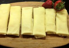 cheese blintzes filling:Cheese Filling 1 egg yolk 2 tablespoons sugar 1 package cream cheese, softened 2 cups creamed cottage cheese teaspoon vanilla extract Strawberry, blueberry or fruits of choice No Dairy Recipes, Cooking Recipes, Cooking 101, Chocolates, Cheese Blintzes, How To Make Crepe, Tandoori Masala, Cheese Fruit, Cheese Plates