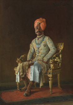 Sir Pratap Singh is wearing Durbar (court) dress and sitting on a magnificent gilded and inlaid chair. In addition to his splendid jewels, he wears the badge and star of the Star of India and the Jubilee medal.Rudolph Swoboda sailed for India on 7 October 1886. Queen Victoria paid for his passage and gave him £300 to cover his travelling expenses. In return he was to provide the Queen with sketches worth £300. Queen Victoria had suggested to Swoboda that while he was in India he should paint…