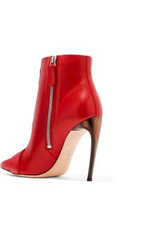 Alexander McQueen - Buckled Leather Ankle Boots - Red