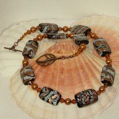 Brown white copper necklace with foiled glass by ScottishPrincess, £25.50