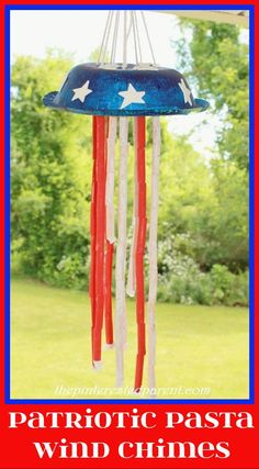 Patriotic-Pasta-Windchimes Fourth of July crafts