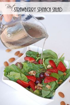 Prize-winning Strawberry Spinach Salad with Poppy Seed Dressing and Sugared Almonds {OneCreativeMommy.com} Recipe