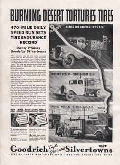 1936 Goodrich Silvertown Tires Ad Valley Truck Co Los Angeles CA Endurance Recor Vintage Ads, Worlds Largest, Tired, Advertising, Trucks, Book, Ebay, Truck