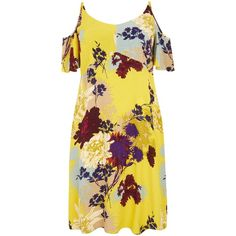 Curves Yellow Floral Cold Shoulder Midi Dress (2960 RSD) ❤ liked on Polyvore featuring dresses, floral printed dress, yellow floral dress, floral day dress, yellow cold shoulder dress and cold shoulder midi dress