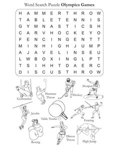 Word Search Puzzle Olympics Games