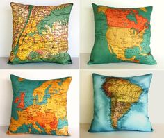 Map pillows from My Bearded Pigeon. They scan in real maps, then have the scans made into textiles.