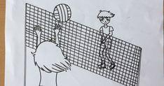 Cartel torneo deportivo Voleyball 3x3 fotocopiable y coloreable