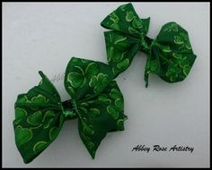 St. Patrick's Day Themed Hairbow - Available through Etsy.