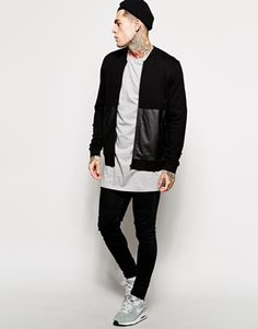 Bild 4 von ASOS Bomber In Jersey With Leather Look Panel