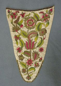 Embroidered ivory satin stomacher, c. The ivory satin ground is embroidered with a Tudor rose and other flowers in three shades of silk, 18th Century Dress, 18th Century Costume, 18th Century Fashion, 19th Century, Historical Costume, Historical Clothing, Historical Dress, Outlander Costumes, Tudor Rose