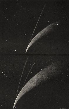 DONATI'S COMET: Showing its secondary tails; antique print 1877