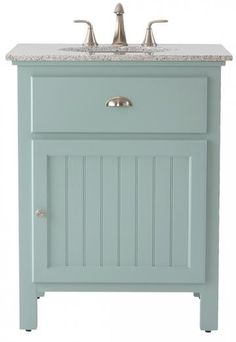 Ridgemore Single Bath Vanity - Bath Vanities - Bath Vanity - Bathroom Vanity Cabinets | HomeDecorators.com in white with grey granite top