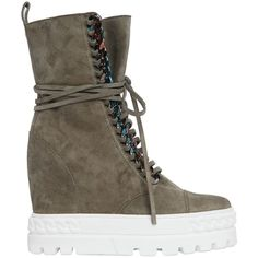 Casadei Women 110mm Suede Wedge Sneakers W/ Chain Trim (£950) ❤ liked on Polyvore featuring shoes, sneakers, boots, footwear, heels, khaki, suede sneakers, platform wedge sneakers, wedge heel sneakers and wedge sneaker shoes