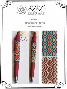 Peyote pen cover patterns- oriental 1-2, peyote 3 drop odd pattern, set of 2 for pen wrap -for G2 pen by Pilot-in PDF instant download