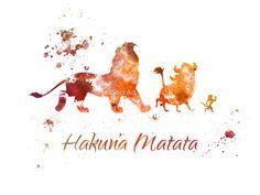 Le Roi Lion, illustration de Hakuna Matata ART PRINT, Disney, technique mixte, Home Decor, pépinière, Kid