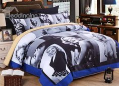 Retro #Marilyn #Monroe Print Polyester 4-Piece Duvet Cover Sets #bedroom #bedding